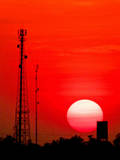 Urban Sunset and Radiostation Tower Silhouettes Photographic Print by Rosita So Image