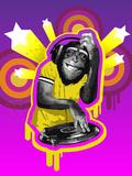 Chimpanzee DJ Photographic Print by New Vision Technologies Inc