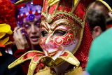 Person in Venetian Mask, New Orleans Mardi Gras. Photographic Print by Ray Laskowitz