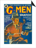 G-Men, FBI Detectives Pulp Fiction Magazine, USA, 1935 Poster