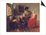 The Glass of Wine, about 1660/61 Art by Jan Vermeer