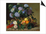 Hydrangea in a Jug and a Basket with Oranges, Lemons and Figs, 1834 Prints by Johan Laurentz Jensen