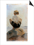 A Boy Crouching on a Rock Posters by Albert Edelfelt