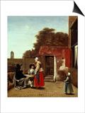 A Dutch Courtyard, 1658-1660 Posters by Pieter de Hooch