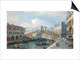 Venice, the Grand Canal, the Rialto Bridge from the South Art by  Canaletto