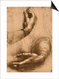 Study of Female Hands, Drawing, Royal Library, Windsor Art by  Leonardo da Vinci