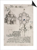 Designs for a Sacred Building and a Lock for a Chest Poster by  Leonardo da Vinci