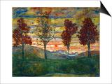 Quatre arbres, vers 1917 Affiche par Egon Schiele