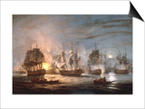 The Battle of the Nile, August 1st 1798, 1830 Print by Thomas Luny
