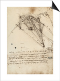The Rudder of a Wing, Institut De France, Paris Print by  Leonardo da Vinci