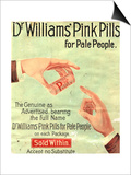Dr Williams Pin Pills Medical Medicine, UK, 1890 Posters