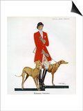 Woman in Hunting Outfit with Hounds, Magazine Plate, Spain, 1929 Art