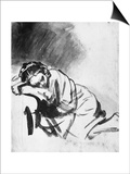Sleeping Girl, Drawing, British Museum, London Print by  Rembrandt van Rijn