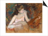 Girl with a Banjo Posters by Mary Cassatt