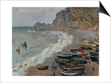 Etretat, The Beach, c.1883 Art by Claude Monet