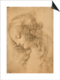 Study for the Face of the Virgin Mary of the Annunciation Now in the Louvre Posters by  Leonardo da Vinci
