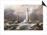 H.M.S. 'Lord Warden' off the Eddystone Lighthouses, 1882 Prints by Richard Bridges Beechey