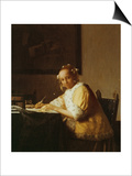 A Lady Writing, about 1665 Prints by Jan Vermeer