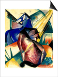 Zwei Pferde Rot Und Blau, 1912 Art by Franz Marc