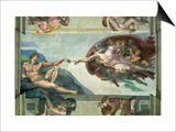 The Sistine Chapel: Creation of Adam, 1510 Prints by  Michelangelo Buonarroti