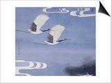 Twin Cranes Print by Hsi-Tsun Chang