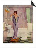 Woman in Bathroom, Magazine Advertisement , UK, 1930 Art