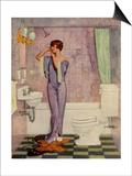 Woman in Bathroom, Magazine Advertisement , UK, 1930 Art