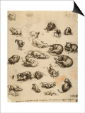Cats, Lions and Dragons, Drawing, Royal Library, Windsor Posters by  Leonardo da Vinci