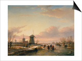 Wintery River Landscape with Skaters and Windmills Print by Jan Josef Spohler
