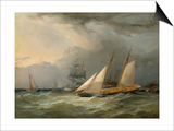 The Brig 'Pearl' and a Schooner of the Royal Yacht Squadron Print by Charles Gregory