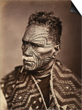 Portrait of a Maori with Tattoed Face Prints