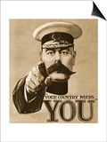 1910s UK Your Country Needs You Recruitment Poster Posters