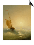 Sailing Barge at Sunset, 1856 Print by Ivan Konstantinovich Aivazovsky