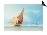 Shipping at the Entrance of the Meadway, Kent Prints by Miles Edmund Cotman