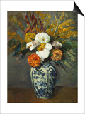 Dahlias in a Delft Vase, 1873 Prints by Paul Cézanne