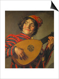 A Jester Playing the Lute, 1625 Prints by Frans Hals