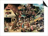 Netherlandish Proverbs, 1559 Posters by Pieter Bruegel the Elder