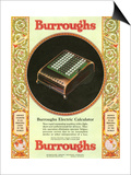Equipment Burroughs, Adding Machines, Accountants, USA, 1920 Poster