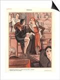 Le Sourire, Glamour Bars Cocktails Alcohol Evening-Dress Cigarettes Smoking Magazine, France, 1920 Prints