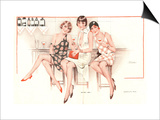 Glamour Erotica Womens Bars Cocktails, France, 1920 Print