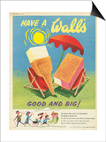 Wall's, Ice-Cream, UK, 1950 Prints