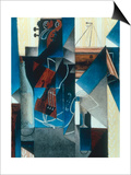 Violon et gravure accrochee (Violin and print), 1913 Art by Juan Gris