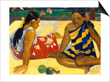 Two Woman of Tahiti. Parau Api (What's New) 1892 Art by Paul Gauguin