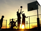 Students Play a Basketball Game as the Sun Sets at Bucks County Community College Prints