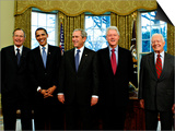 President-elect Barack Obama with All Living Presidents Smiling, January 7, 2009 Prints
