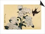 Hortensia et hirondelle Print by Katsushika Hokusai