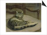 Chat sur un fauteuil Print by Théophile Steinlen