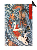 Tamatori Being Pursued by a Dragon Posters by Kuniyoshi Utagawa