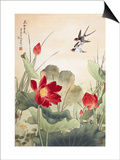 Birds over Lotus Pond Prints by Fangyu Meng