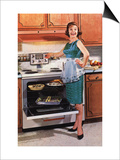Gibson, Cooking Ovens Housewife Housewives Kitchens Appliances Woman Women in Kitchens, USA, 1950 Prints